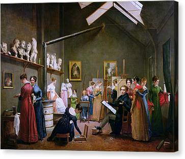 The Studio Of Abel De Pujol Canvas Print by Adrienne Marie Louise Grandpierre-Deverzy