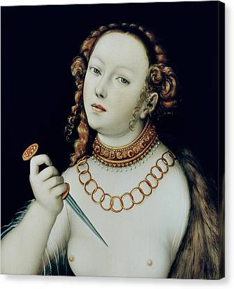 The Suicide Of Lucretia Canvas Print by Lucas the Elder Cranach