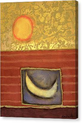 The Sun Rises While The Moon Sleeps, 1990 Mixed Media On Paper Canvas Print by Peter Davidson