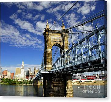 The Suspension Bridge Canvas Print by Mel Steinhauer
