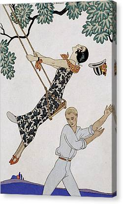 The Swing Canvas Print by Georges Barbier