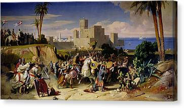 The Taking Of Beirut By The Crusaders Canvas Print by Alexandre Jean Baptiste Hesse