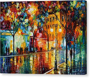 The Tears Of The Fall - Palette Knife Oil Painting On Canvas By Leonid Afremov Canvas Print by Leonid Afremov