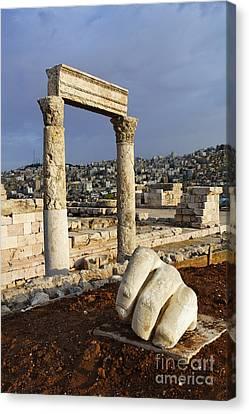The Temple Of Hercules And Sculpture Of A Hand In The Citadel Amman Jordan Canvas Print by Robert Preston