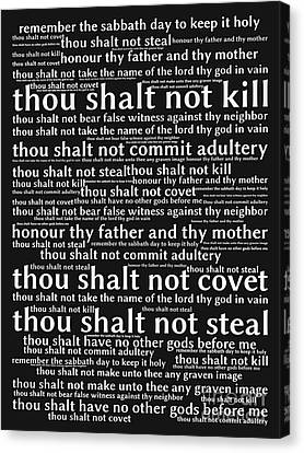 The Ten Commandments 20130625bw Canvas Print by Wingsdomain Art and Photography