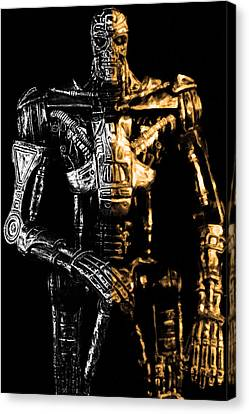 The Terminator Silver And Gold Canvas Print by Toppart Sweden