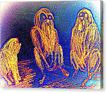 The Three Apes Are Discussing Important Matters  Canvas Print by Hilde Widerberg