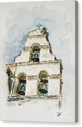 The Three-bell Campanario At Mission San Juan Bautista  Canvas Print by Zaira Dzhaubaeva