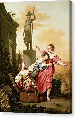 The Three Daughters Of Cecrops Discovering Erichthonius Canvas Print by Salomon de Bray
