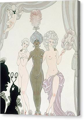 The Three Graces Canvas Print by Georges Barbier