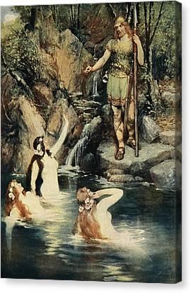 The Three Maidens Swam Close Canvas Print by Ferdinand Leeke