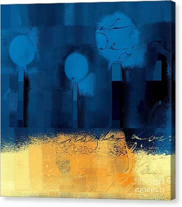 The Three Trees - J036076170-blue Canvas Print by Variance Collections