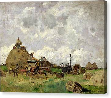 The Threshing Machine Oil On Panel Canvas Print by Edmond Charles Yon