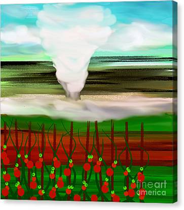 The Tomatoes And The Tornado Canvas Print by Andee Design