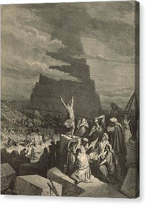 The Tower Of Babel Canvas Print by Antique Engravings