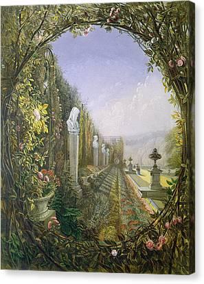 The Trellis Window Trengtham Hall Gardens Canvas Print by E Adveno Brooke