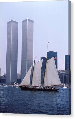 The Twin Towers With The Schooner America 4th July 1976 Canvas Print by Terence Fellows