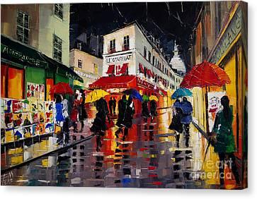 The Umbrellas Of Montmartre Canvas Print by Mona Edulesco