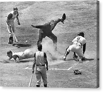 The Umpire Calls It Safe Canvas Print by Underwood Archives