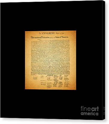 The United States Declaration Of Independence - Square Black Border Canvas Print by Wingsdomain Art and Photography