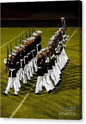 The United States Marine Corps Silent Drill Platoon Canvas Print by Robert Bales