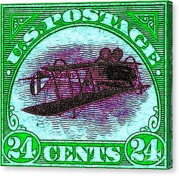 The Upside Down Biplane Stamp - 20130119 - V4 Canvas Print by Wingsdomain Art and Photography