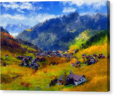 The Valley Of Blue And Gold Canvas Print by Georgiana Romanovna