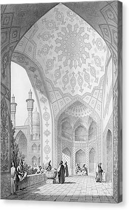 The Vestibule Of The Main Entrance Of The Medrese I Shah-hussein Canvas Print by Pascal Xavier Coste