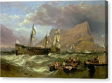 The Victory Towed Into Gibraltar Canvas Print by Clarkson R A Stanfield