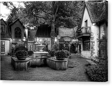 The Village Of Gatlinburg In Black And White Canvas Print by Greg and Chrystal Mimbs