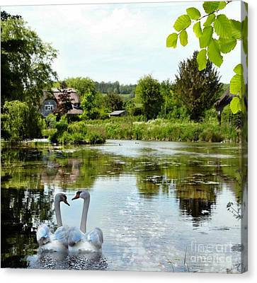 The Village Pond Canvas Print by Morag Bates