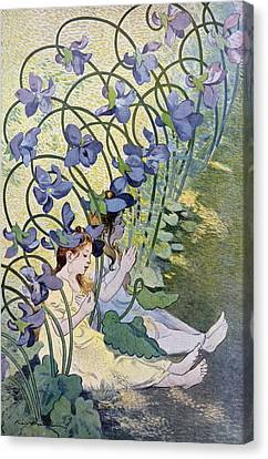 The Violets Lively Flowers Canvas Print by Firmin Bouisset
