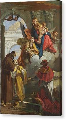 The Virgin And Child Appearing To A Group Of Saints Canvas Print by Giovanni Battista Tiepolo