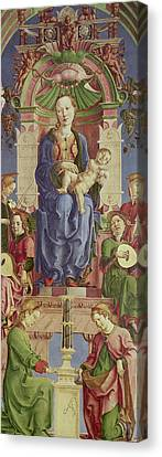 The Virgin And Child Enthroned Canvas Print by Cosimo Tura