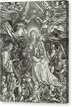 The Virgin And Child Surrounded By Angels Canvas Print by Albrecht Durer or Duerer