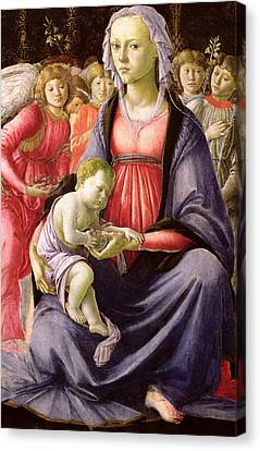 The Virgin And Child Surrounded By Five Angels Canvas Print by Sandro Botticelli