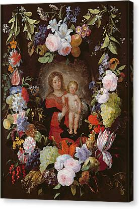 The Virgin And Child With A Garland Of Flowers Oil On Panel Canvas Print by Gerard Seghers