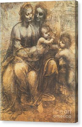The Virgin And Child With Saint Anne And The Infant Saint John The Baptist Canvas Print by Leonardo Da Vinci