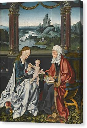 The Virgin And Child With Saint Anne Canvas Print by Celestial Images