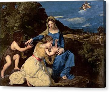 The Virgin And Child With Saints Canvas Print by Titian