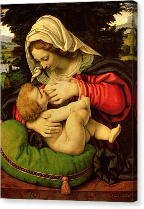 The Virgin Of The Green Cushion Canvas Print by Andrea Solario