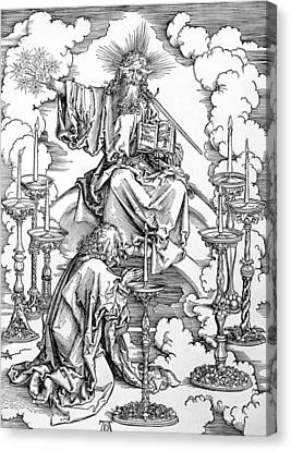 The Vision Of The Seven Candlesticks From The Apocalypse Or The Revelations Of St. John The Divine Canvas Print by Albrecht Durer or Duerer