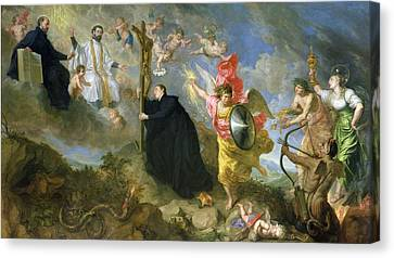 The Vows Of Saint Aloysius Of Gonzaga Oil On Canvas Canvas Print by Theodor Boeyermans