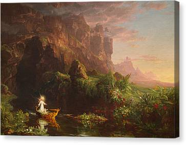 The Voyage Of Life Childhood Canvas Print by Thomas Cole