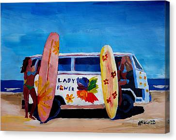 The Vw Volkswagen Bulli Series - The Lady Power Surf Bus Canvas Print by M Bleichner