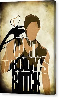 The Walking Dead Inspired Daryl Dixon Typographic Artwork Canvas Print by Ayse Deniz