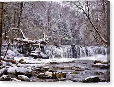 The Waterfall Near Valley Green In The Snow Canvas Print by Bill Cannon