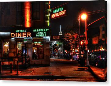 The Waverly Diner And Empire State Building Canvas Print by Randy Aveille