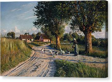 The Way Home Canvas Print by Peder Monsted