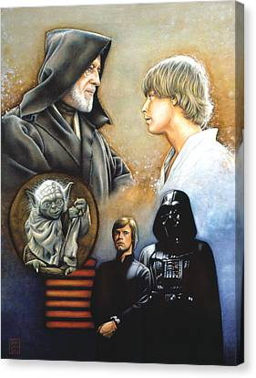 Star Canvas Print featuring the drawing The Way Of The Force by Edward Draganski